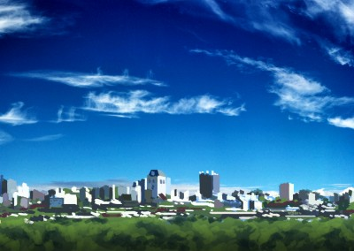 Christchurch Skyline Nice Weather Illustration