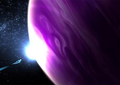 Entering purple planet