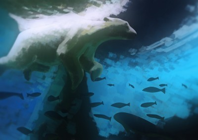 Digital painting of polarbear swimming with fish
