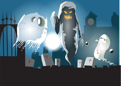 Ghosts Vector Illustration Ola Gustafsson Illustration