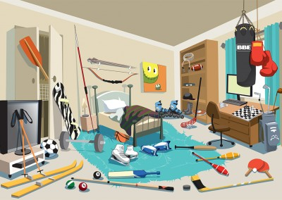 Teen Room Vector Illustration Ola Gustafsson Illustration