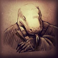Hand drawn illustration of Lizard in tuxido